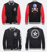 baseball college jacket - mens varsity jacket hoodie NEW YORK Classic Slim Fit NY Baseball Jackets Skull pattern men college letterman jacket Bomber