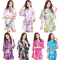 Wholesale fashion Peacock Short Women Bridal Bridesmaid Kimono Robe Satin Night Dress Gown