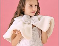 Wholesale 2015 Pink White Cheap Fur Girls Capes and Jackets Cape Girls Formal Occasion Girls Accessories Autumn Winter Princess Kids Girls Capes