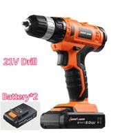 Wholesale 21V mini Manual Electric Screwdriver Home Cordless charging Drill bit Hammer Lithium Battery Rechargeable hand Power Tool sets