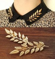 american wheat - 2015 New Fashion alloy golden plated ears wheat leaves retro shirt men women collar brooch pin collar Jewelry color
