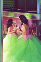 Wholesale Green A line New style custom made tulle Flower Girls Dress