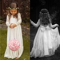 beauty baby photos - Cute Baby Long Sleeves Flower Girls Dresses for Weddings Princess Beauty Lace Jewel Neck Bow Sash Floor Length A Line Communion Gowns