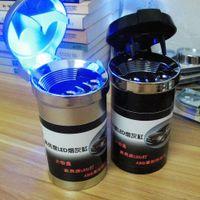 tin drinking cups - New Black Silver Home Ashtray Car Ashtray illuminated With LED Light Ash Tin Drink Holder Phone Holder Cup Holder Ashtray