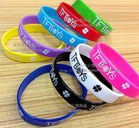 Wholesale 9 styles Hot sale TFBOYS wristbands TFBOYS Silicone Wristbands silicone bracelet Classic Hip hop Support wristband LJJD549