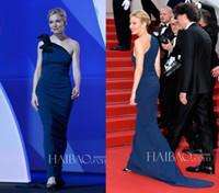 Wholesale 2015 Cannes Celebrity Dresses Sienna Miller Red Carpet Celebrity Dresses Sheath One Shoulder Sleeveless Floor Length Navy Blue Formal Gowns