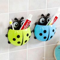 Wholesale Amazing New Cute Cartoon Sucker Toothbrush Holder Ladybug Bathroom Set Toothbrush Organizer