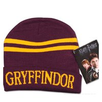 Wholesale fashion harry potter college striped hats caps for men beanie skull caps hats caps gryffindor slytherin ravenclaw christmas gift