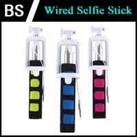Wholesale Q1 Selfie Stick Wired Selfie Monopod Self Artifact Phone Pole Wire Rod Self Without Bluetooth Selfie Shutter For IOS and Android