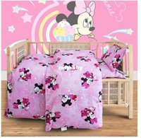 baby bottles - Baby Girl Boy Minnie Hello Kitty Cartoon Quilt Cover Bed Sheet Pillowcase Cotton Bedding Set for Crib Cradle set