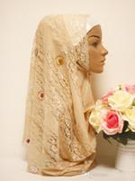 Wholesale 2015 spring Summer Lace muslim Wedding Hijabs Muslim Turban Headscarf With Beads Romantic White Hijabs