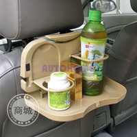 Wholesale 1 X Car Auto Tray Food table Desk Stand drink Cup Holder amount back seat Beige order lt no track