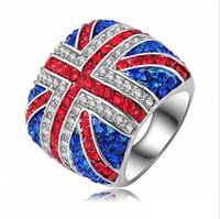 austrian flag - Fashion Union Jack Cloth Rings Platinum Plated Full Austrian Crystal SWA Elements UK Flag Women Finger Ring