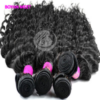 Wholesale Long Hair Extension Luxury Indian Unprocessed Real Human Hair Wefts Natural Black Deep Wave Hairstyle Queen Hair Products B48