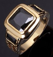 Wholesale New Fashion popular Gemstone Jewelry Size to Black Sapphire Cz K Yellow Gold Filled Wedding Rings For Men Gift R048YBLS