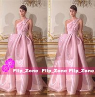 al pipe - Vintage Pink Prom Dresses with One Shoulder Ruffled Organza Plus Size Arabic Rami Al Ali Evening Party Formal Gowns Full Length