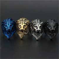 indian head rings - 1pc Newest Colors Lion King Ring L Stainless Steel Biker Style Lastest Men Animal Lion Head Ring