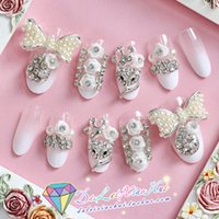 aesthetic products - Aesthetic bride long gradient rhinestone design gem sclerite nail art handmade stick drill finished product smd false nail