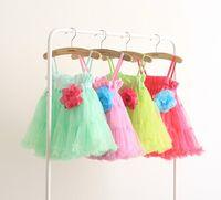 rosettes chiffon - baby girl kids lace dress flower tutu dress floral tut dress strap halter princess dress costumes chiffon dress pleated rosette brooch