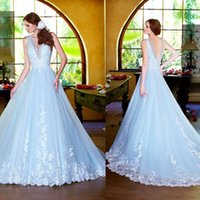 Wholesale Sexy Deep V Neck Sky Blue Wedding Dresses Ball Gown Sheer Lace Appliques Sweep Train Bridal Gowns Dress Vintage New Cheap Dress Gown