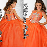 girls pageant dresses size 10 - ritzee girls pageant dresses sweetheart neckline with straps glitz beads bodice ball gown long orange organza girls pageant dresses size