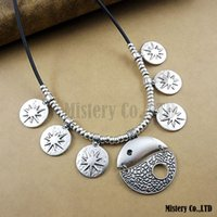 antique ethnic jewellery - Ethnic Exaggerated Tai Chi Vintage Antique Silver PU Leather Choker Necklace Statement Jewelry Jewellery Gift For Women Girls