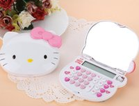 Wholesale 2016 New arrival baby girl boy cartoon calculators student fashion cute hello kitty calculator with mirror