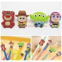 alien crafts - Kids gifts craft Toy Store Woody Aliens cartoon pencil cap pencil accessory PVC pen case Pen loop students gifts school Stationery