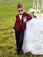Wholesale Two Pieces Luxurious Deep Coffee color Ring Bearer Suits trend Boys Tuxedo Black BowTie kids formal dress boys suits fashion kids suits