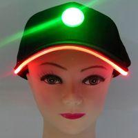 Wholesale New Fashion Baseball Hats With LED Light Blcak Caps Luminous Lights Varible Different Colors Flash Lights Caps Adjustment Size Hat