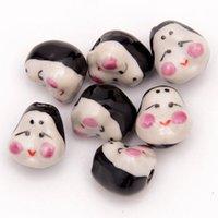 Wholesale 100pcs x17mm Clown Handcraft Beads Ceramic Porcelain Spacer Loose Beads Pendants Fit Necklace Bracelet Jewelry DH CH822