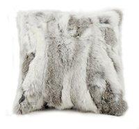 al por mayor almohadas de piel de conejo-Libre de envío CX-D-17A 40x40cm piel de conejo auténtica almohadilla de la felpa ~ del caso del color natural ENVÍO DE LA GOTA