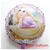 Cheap Wholesale-18inch beautiful Tangled Rapunzel Happy Birthday round foil Balloon girl princess birthday party decoration supplies baby toys