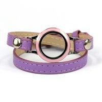 food wrap - 5pcs Hot Sale Spring Color Purple cm Leather Wrap Bracelet with Twist Floating Locket fit Women