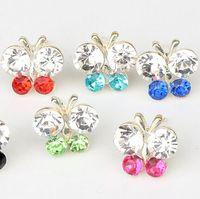 Wholesale Fresh Silver Plated Pretty Butterfly Flower Full Crystal Rhinestone Earrings Studs mm