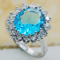aquamarine silver jewelry - Aquamarine Sterling Silver Top Quality Fancy Jewelry wedding Ring Size F1170