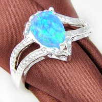 Cheap 2pcs lot Unique Blue Drop Fire Opal Gemstone 925 Sterling Silver Wedding Ring Jewelry Gift