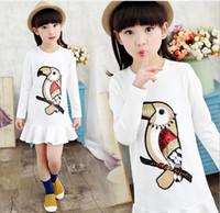 big bird shirts - 2016 Spring Diamond Sequins Bird Big Girl Long Sleeve T shirt Kids Clothes Girls Shirts Children Tees Tops Fashion White Blue Pink K6582