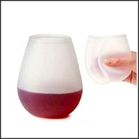 Wholesale Transparent Perfect Outdoor Wine Cup Unbreakable Silicone Beach Picnic Beer Glass Cups Party Beer Whiskey Glass DHL