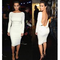 Wholesale Sexy Celeb - Sexy Bodycon Dress Summer Celeb Women Zipper Backless Pencil Dress Long Sleeve Strech Party Evening Club Dress For Women
