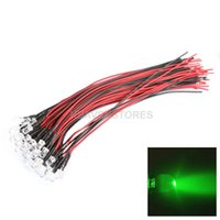 Wholesale new DC V mm Green Light Auto Car Decor LED Strobe Lamp Bulb with Wire freeshipping