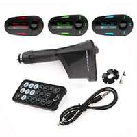 Wholesale Car Kit MP3 Player With Wireless FM Transmitter Modulator USB SD MMC LCD Remote car Charger Degree Rotation