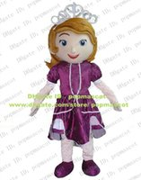 Cheap Beautiful Pink Sofia Princess Infanta Rani Ranee Mascot Costume With Blue Bright Eyes Red Mouth White Long Necklace No.4389 FS