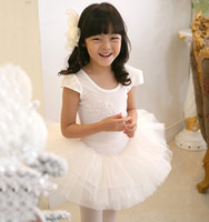Wholesale Cotton Solid Cap Sleeve Sequined Flowers Lace Tutu Tulle Gauze Tiered Kid Girls Ballet Dancewear Performance Latin N1837