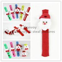 Wholesale Girls Christmas gift Xmas Santa Claus Snowman toy slap snap pat circle Bracelet Wristband for Kids Children christmas tree decorations PS34