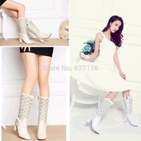 cow calf - Genuine Leather Thick High Heels Floral Cutout Half Boots Sandals New Arrival Cow Leather Cut Out Mid Calf Women Summer Boots SXQ0504