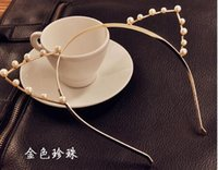 Wholesale 10pcs Fashion Pearl Crystal Cat Ears Fashion Headband Hairband Hair Ornament Tiara Crown Cat Ear Crown With Pearl Free Ship