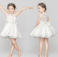 children party dresses - 2015 Big Girl Clothes Summer Princess Girls Dresses Kids Lace Bow Pearl Solid Sleeveless Party Dress Children Wedding Dress White I4208