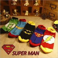 Wholesale Free DHL Hot Mens socks Sports Sock Cotton socks Batman Socks Superman socks Super Hero socks For Men LA64