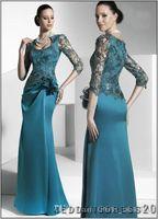 Wholesale 2014 Sfani Elegent Turquoise Sexy Lace Satin Applique Half Sleeve Floor Length Sheath Mother Of Bride Formal Evening Dresses Custom Made